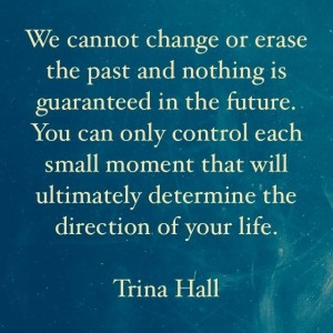 We cannot change or erase the past and nothing is guaranteed in the future. You can only control each small moment that will ultimately determine the direction of your life. - Trina Hall