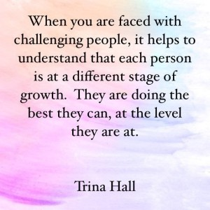 When you are faced with challenging people, it helps to understand that each person is at a different stage of growth. They are doing the best they can at the level they are at. - Trina Hall