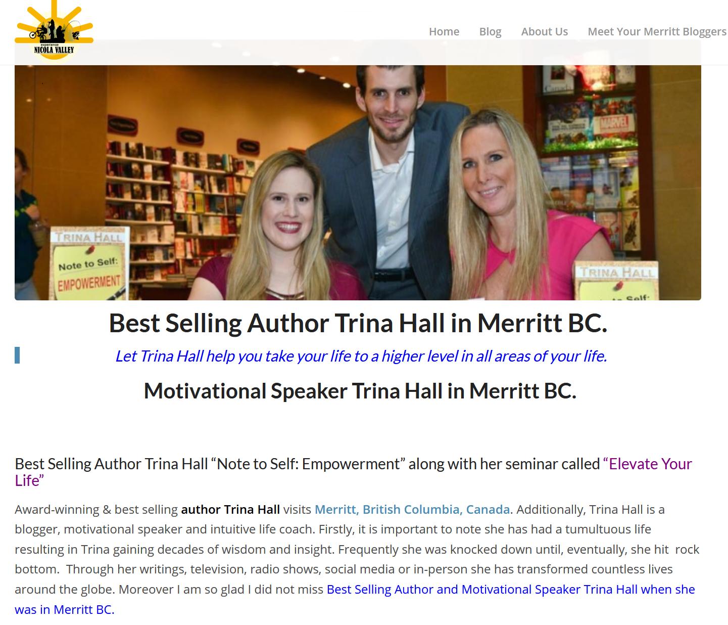 Motivational Speaker & Best Selling Author Trina Hall in Merritt BC